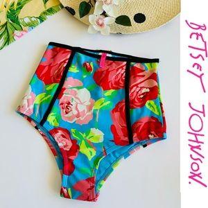 Betsey Johnson High Waist Bikini Bottoms Floral